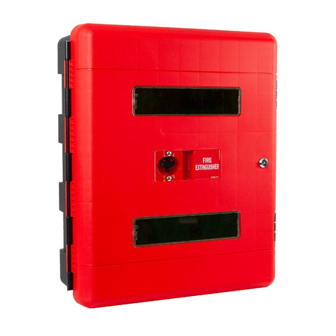 Double 9Ltr/Kg Fire Extinguisher Cabinet with Key Lock