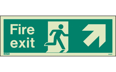 Fire Exit Sign With UP RIGHT Arrow - Photoluminescent