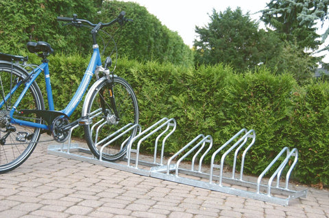 single sided outdoor cycle storage rack in use