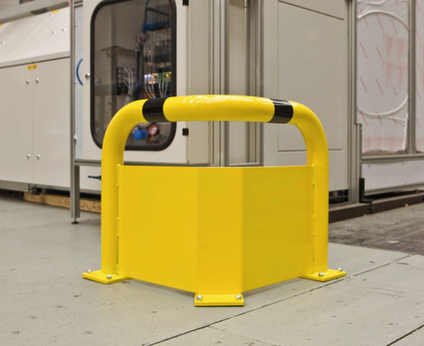 warehouse corner protection hoop with under guard plate in use
