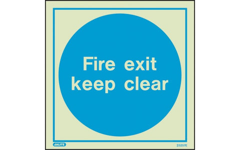 Fire Exit Keep Clear - Photoluminescent Safety Signs