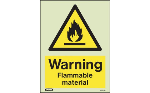 Flammable Material Warning Signs - Photoluminescent