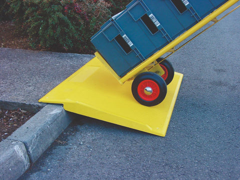heavy duty trolley and wheelchair kerb ramp in use