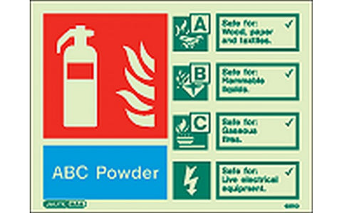 ABC Powder Fire Extinguisher Signs - Photoluminescent