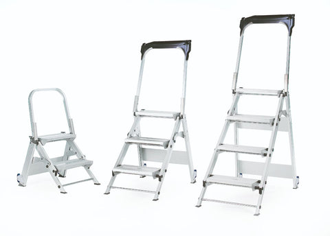 Folding Aluminium Steps with Tilt & Pull Wheels