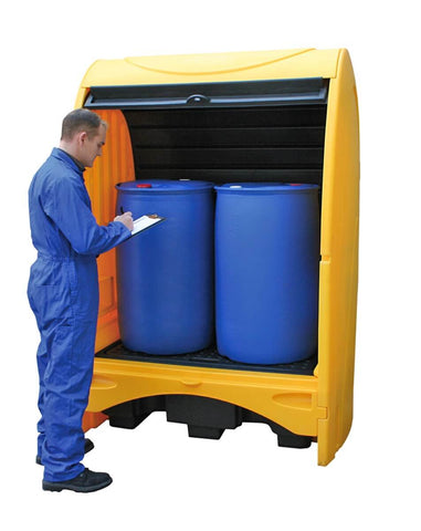 2 Drum Hard Cover Spill Pallet with Roller Door in use