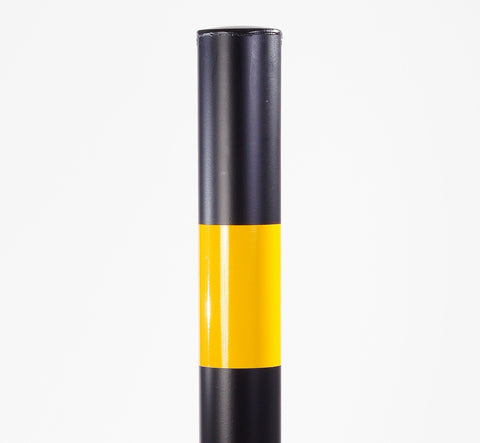 Black and Yellow Metal Bollard