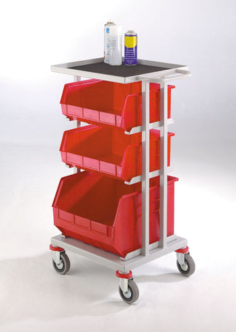 Parts Trolley with 3 Tote Containers lined tray
