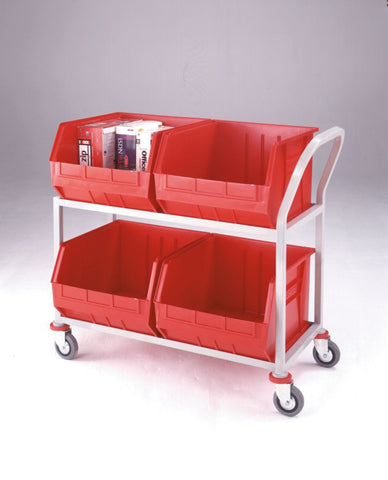 Distribution Trolley with 4 Plastic Tote Containers
