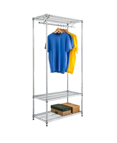 Chrome Wire Clothes Rack with Underneath Storage
