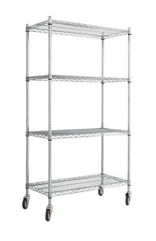 Large Chrome Wire Trolley with Standard Shelves