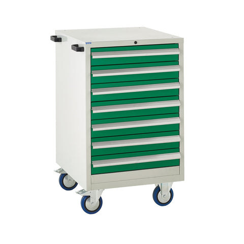 EUC986065VMG Mobile Tool Cabinet with 7 Drawers Green