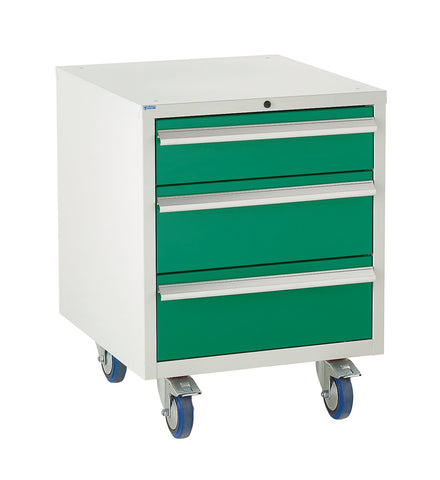 green mobile under storage cabinet