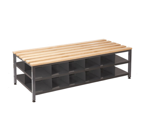 double changing room bench with shoe storage