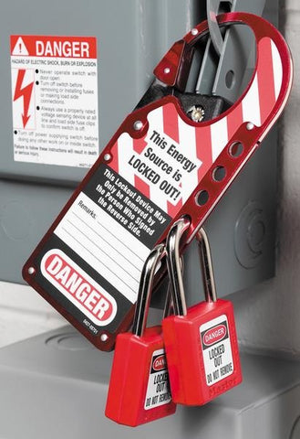 Red-labelled Safety Lockout Hasp