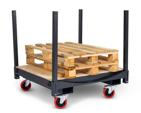 Heavy Duty Multi-Purpose Board & Pipe Trolley front right with pallets