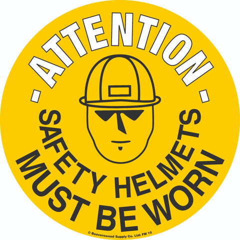 Safety Helmets Self Adhesive Floor Sign 430mm