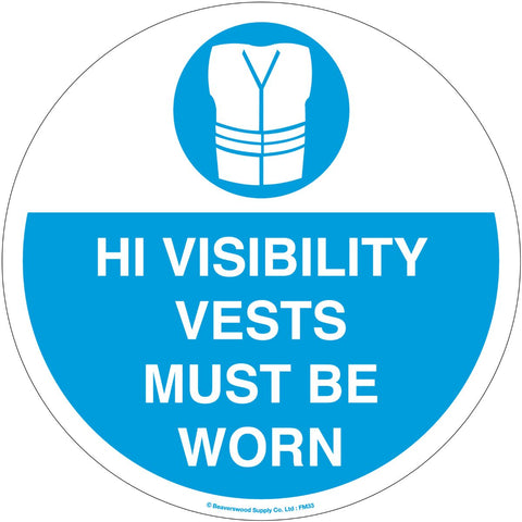 High Visibility Vests Self Adhesive Floor Sign - 430mm