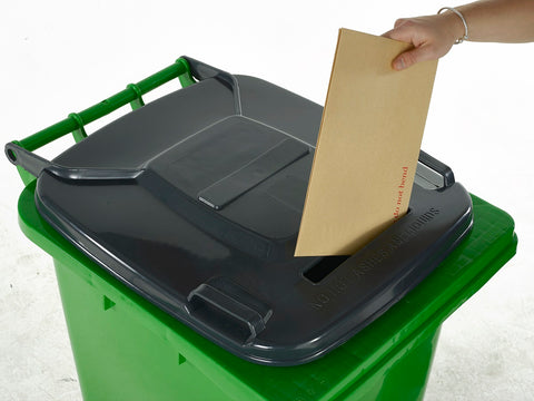 Wheelie Bin with Paper & Letter Slot Lid green close up