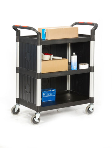 Eco Ali-Plastic 3 Tier Shelf Trolley with Sides 750mm (l) x 460mm (w) x 980mm (h)
