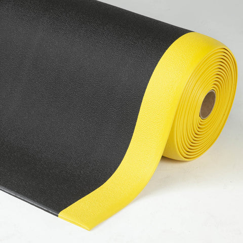 AtEase Pebble Anti Fatigue Mat Black / Yellow Safety
