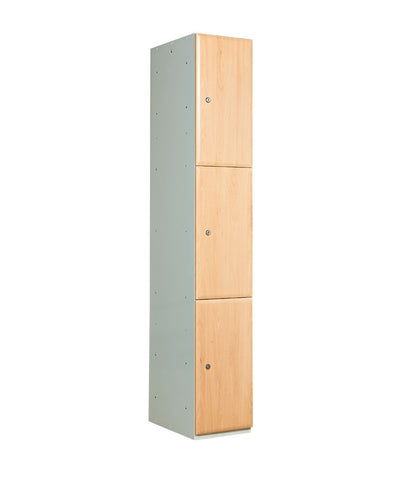 3 compartment wood door locker beech