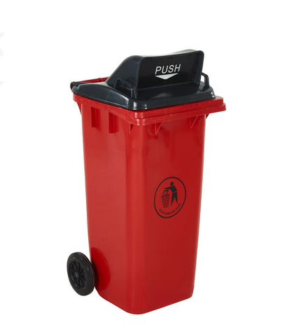 Wheelie Bin with Push Flap Lid red