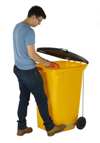 Wheelie Bin with Foot Pedal Operated Lid yellow in use