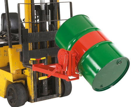Drum Rotator Forklift Attachment tilted