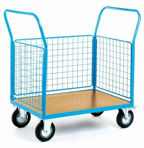 Heavy Duty Platform Trolley With 3 Mesh Sides