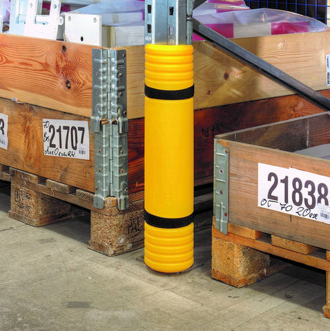 plastic pallet racking protector in use