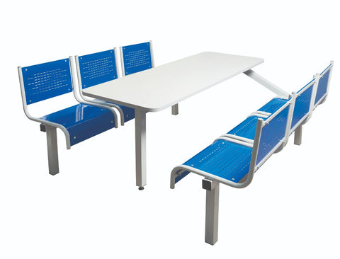 Six Seater Canteen Tables with Steel Seats blue