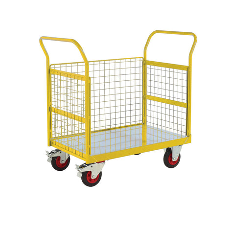 3 Sided Platform Trolley with Mesh Sides RTBT3690MYXX Yellow