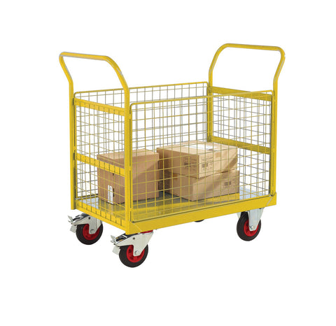 4 Sided Platform Trolley with Mesh Sides RTBT4690MYXX Yellow with props