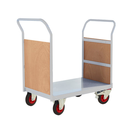 Twin Handle Platform Trolley with Plywood Panel Ends RTPTD690CLXX Light Grey