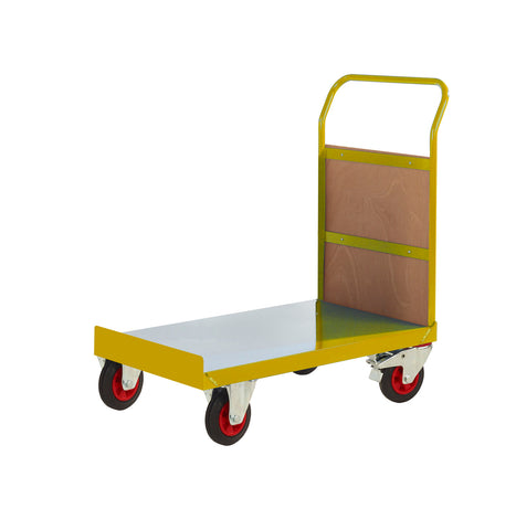 Single Handle Platform Trolley with Plywood Panel End RTPTS690CYXX Yellow
