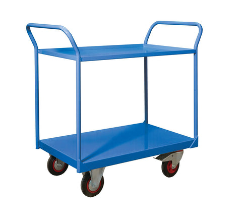 2 Tier Premium Shelf Trolleys RTTST90602B Blue