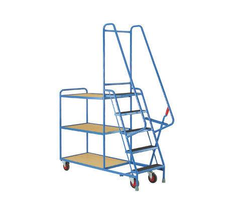 5 Step Warehouse Picking Trolley - Plywood Shelves