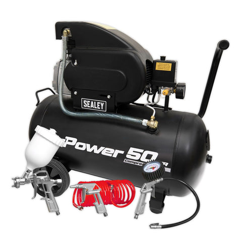 2hp 50L Portable Compressor - Direct Drive with Accessory Kit