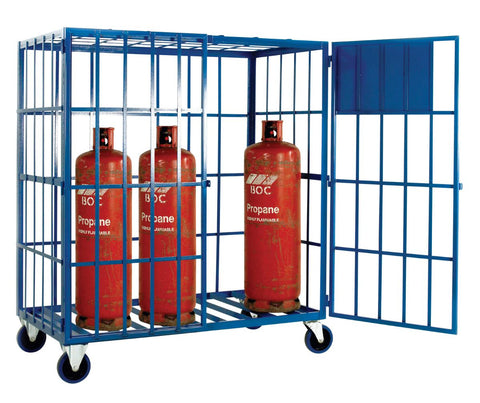 Mobile Gas Cage for 8 Propane Cylinders propped
