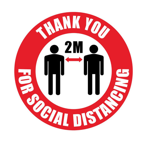 Heavy Duty 'Thank You For Social Distancing' Round Floor Sign 235mm