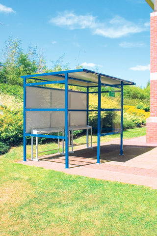 Outdoor Smoking Shelters with Steel Back Panel