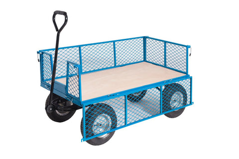 Puncture-Proof Platform Trolley with Mesh Sides