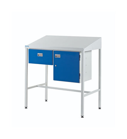 Industrial Workstations with Cupboard & Single Drawer sloping