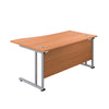 Right Hand Wave Office Desks beech silver back
