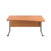 Right Hand Wave Office Desks beech silver front