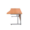 Right Hand Wave Office Desks beech silver side