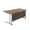 Right Hand Wave Office Desks dark walnut silver