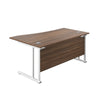 Right Hand Wave Office Desks dark walnut white