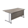 Right Hand Wave Office Desks grey oak silver